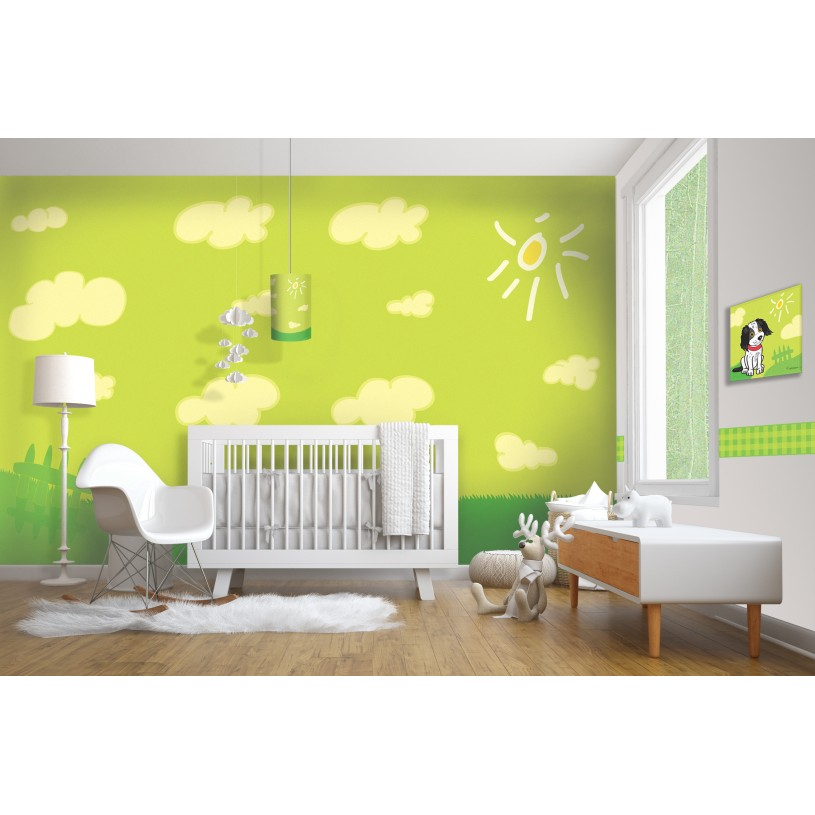 Wallpaper with lime pattern. Kids Room decor AWG1