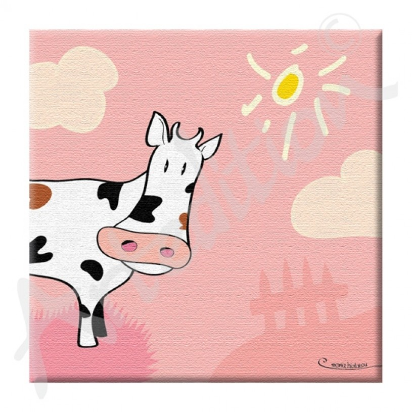 Decorative Kids Picture Frame with Cow in pink colour AFP3